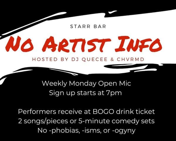 No Artist Info Open Mic tickets
